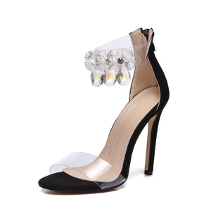 Topsqueen Clear Design Rhinestone Ankle Sandals