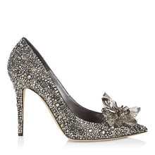 Topsqueen Cinderella Black Crystal Shoes