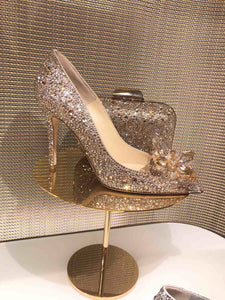 Topsqueen Cinderella Gold Crystal Shoes