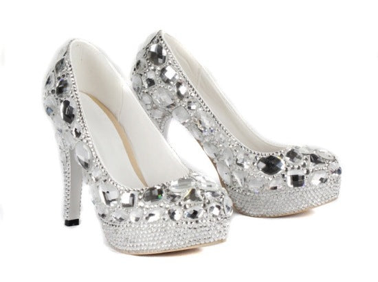 Crystal Silver Rhinestone Shoes