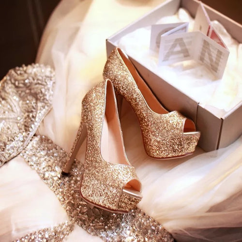Topsqueen Golden Rhinestone Glitter Platform High Heel Shoes