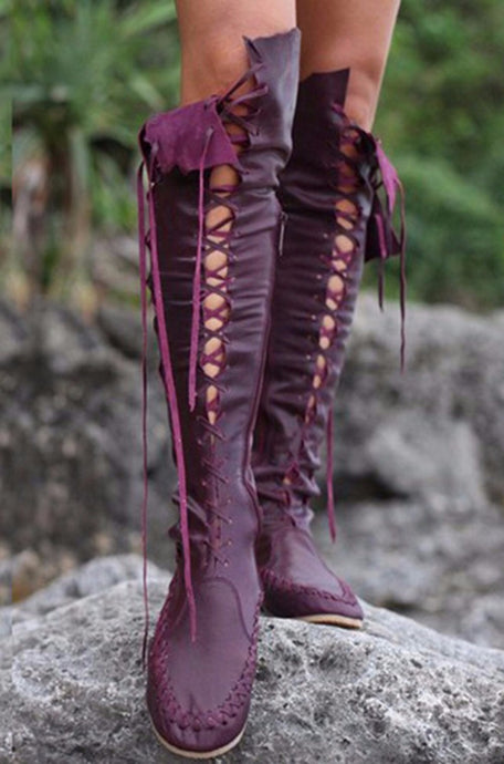 Topsqueen Gypsy Lace-Up Knee High Flat Boots