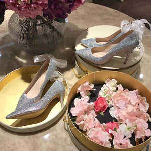 Topsqueen Silk Belt Wedding &Party Heels