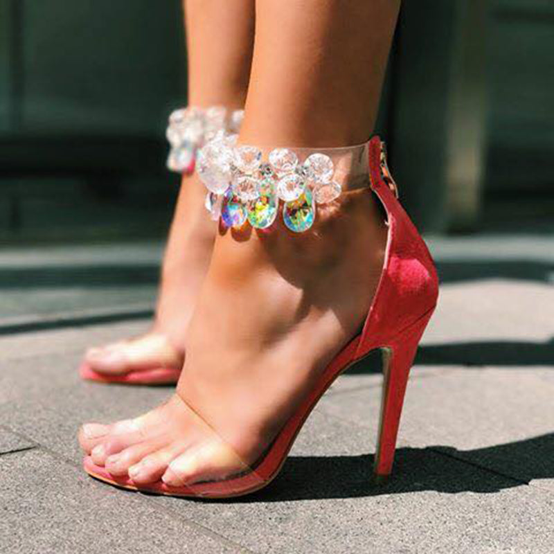 Topsqueen Clear Flowers Rhinestone Sandals