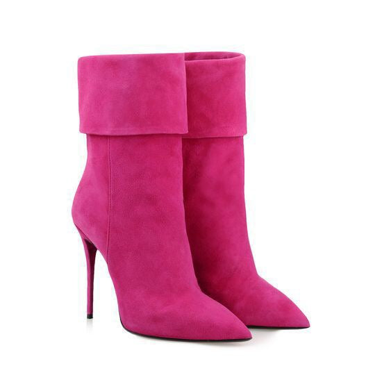 Topsqueen Decent Pink Pointed Toe Stiletto Booties