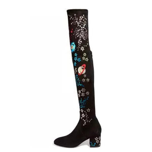 Topsqueen Embroidery Knee High Boots