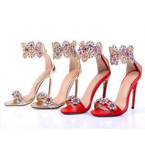 Topsqueen Fancy Rhinestone Heels Sandals