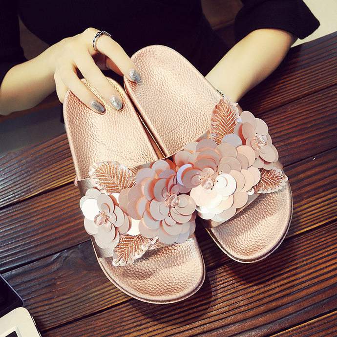 Topsqueen Flowers Embellishment Slippers