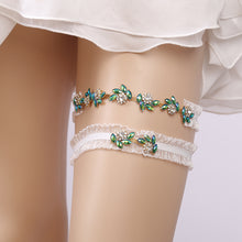 Topsqueen Emerald Green Rhinestone  Wedding Garter