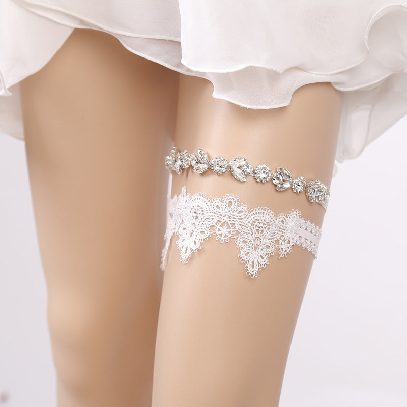 Topsqueen Rhinestone and Lace Couture Wedding Garter