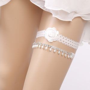 Topsqueen Rhinestone and Pearl Lace Couture Wedding Garter