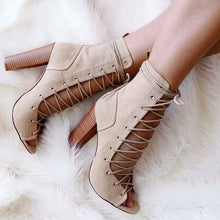 Topsqueen Lace Up Caged Chunky Fashion Booties