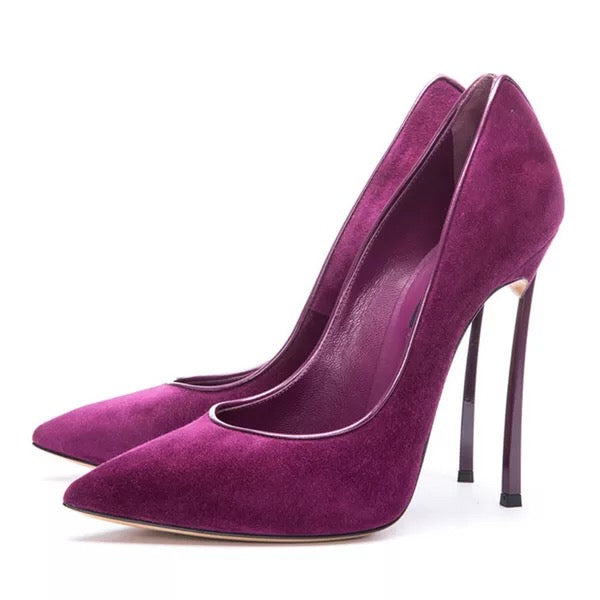 Topsqueen Purple Suede Pointed Toe Pumps