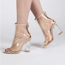 Topsqueen Peel Off Perspex Nude Ankle Boots