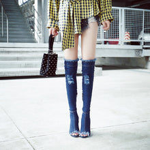 Topsqueen Peep Toe Hollow Worn Knee High Boot