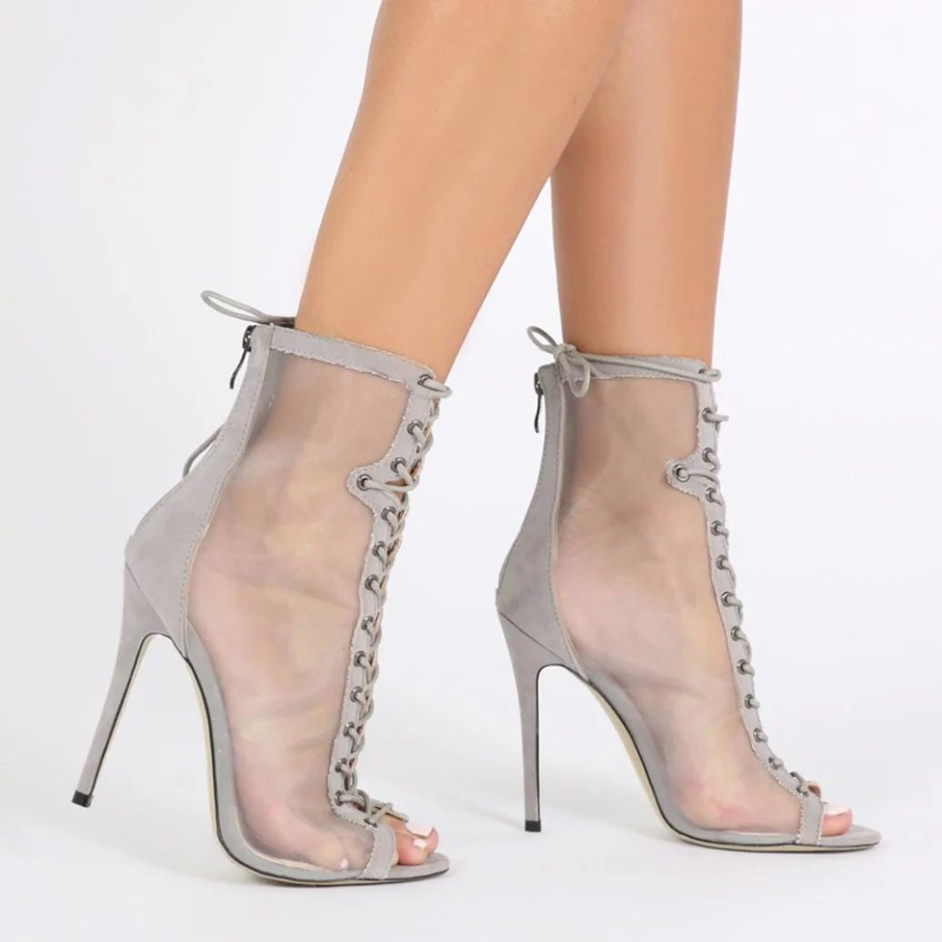 Topsqueen Peep Toe Stiletto Heels High Heel Boots