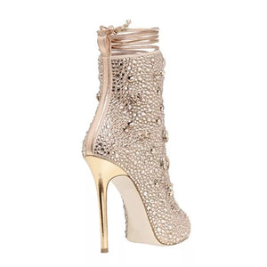 Topsqueen Peep-toe Lace-up Rhinestone Stiletto Heels