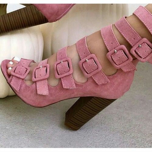 Topsqueen Pink Buckled Chunky Heel Fashion Booties