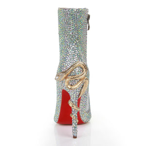 Topsqueen Rhinestone Snake Heels Ankle Boots