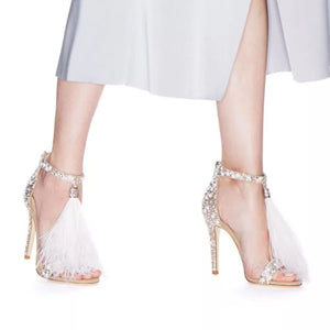 Topsqueen Romantic Rhinestone Tassels Shoes