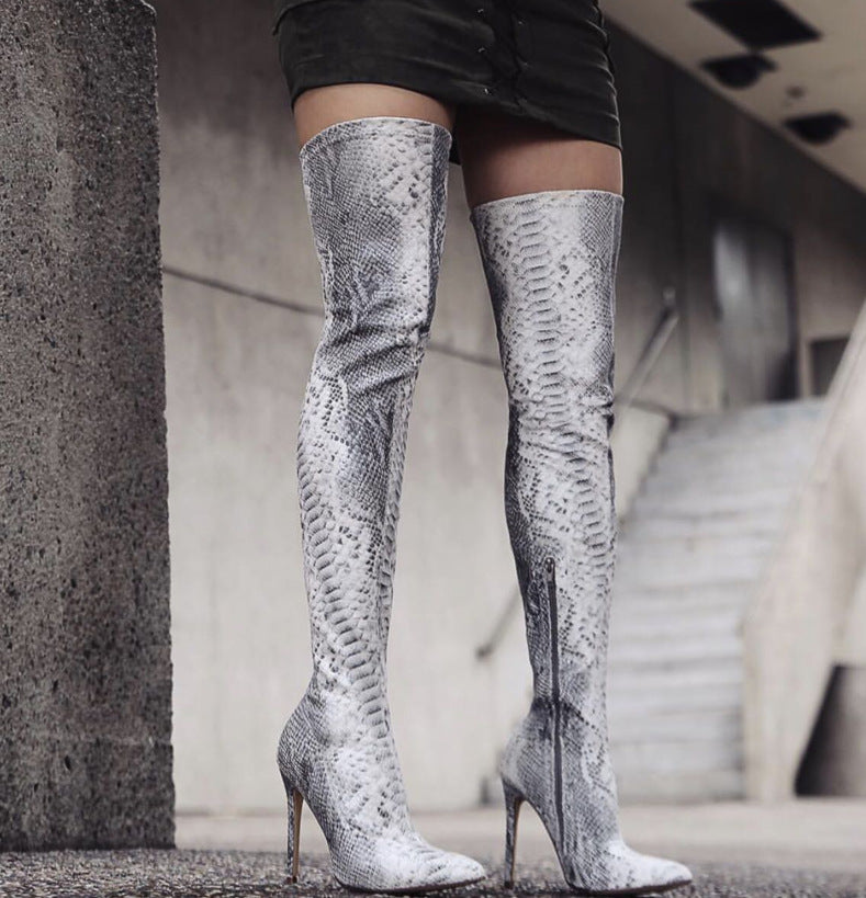 Topsqueen Serpentine Pointed Toe Over the Knee Boots