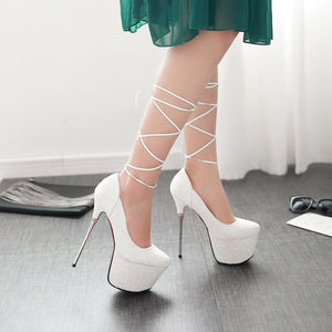 Topsqueen Sparkly with Lace Up Heels