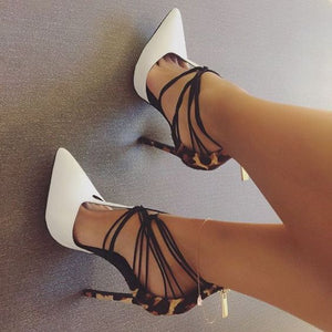Topsqueen White Pointed Toe T Strap Stiletto Heels