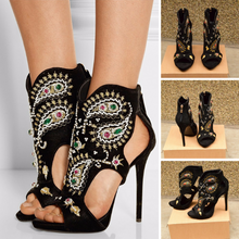 Topsqueen Embroidery Peep Toe Ankle Boots