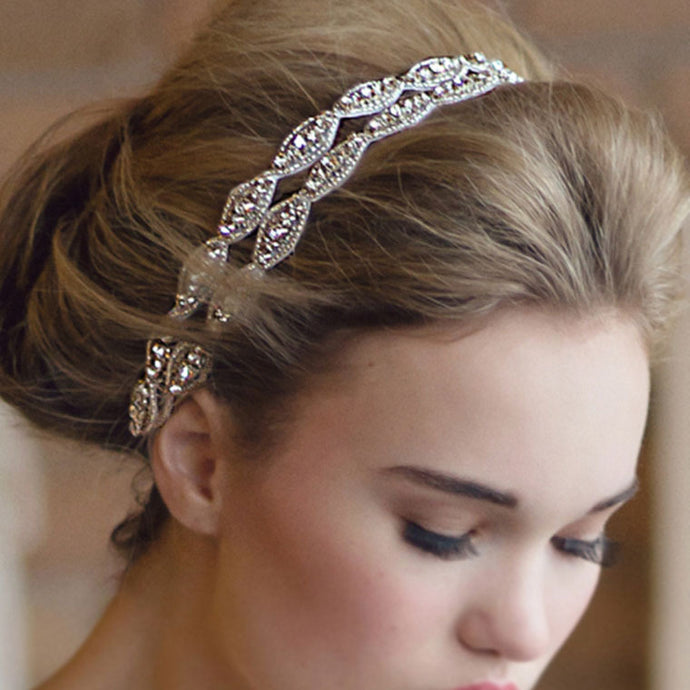 Topsqueen Bridal Double Stripe Crystal Rhinestone Headband