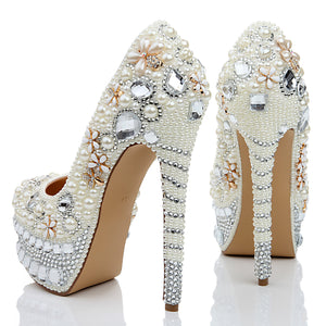 Topsqueen Pearls Rhinestone Pointed Stiletto Party Heels