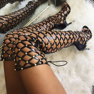Topsqueen Black Thigh High Sandals