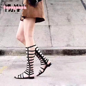 Topsqueen Cut outs Knee High Flat Boots