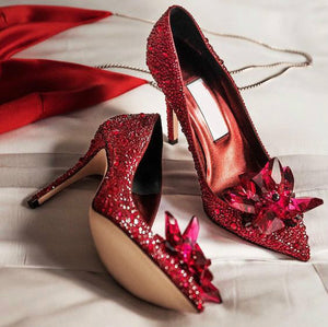 Topsqueen Cinderella Red Crystal Shoes