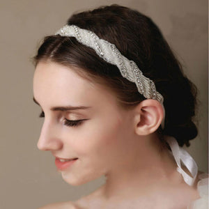 Topsqueen Bridal Satin Rhinestone Applique Headband