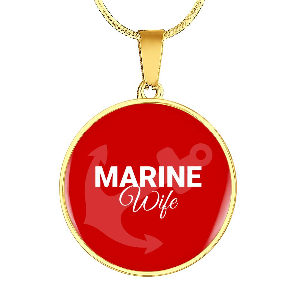 Marine Wife Circle Pendant on Luxury Necklace or Bangle