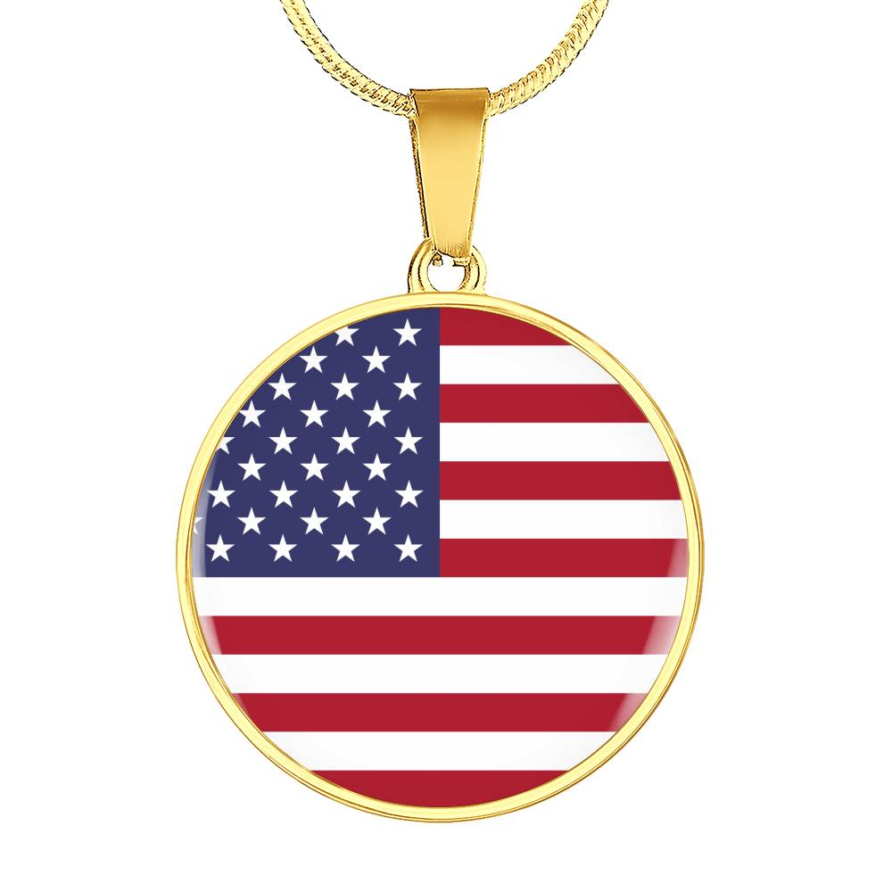 American Flag Circle Pendant on Necklace or Bangle