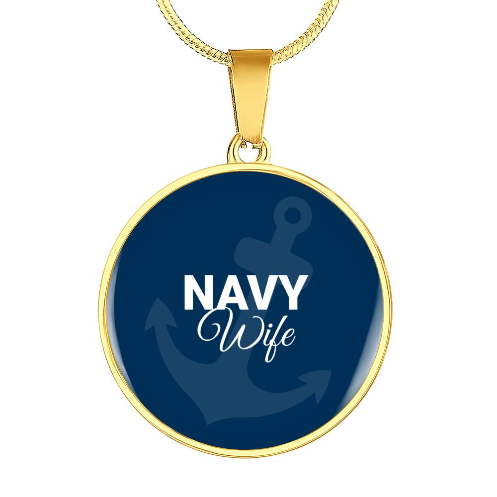 Navy Wife Circle Pendant on Luxury Necklace or Bangle