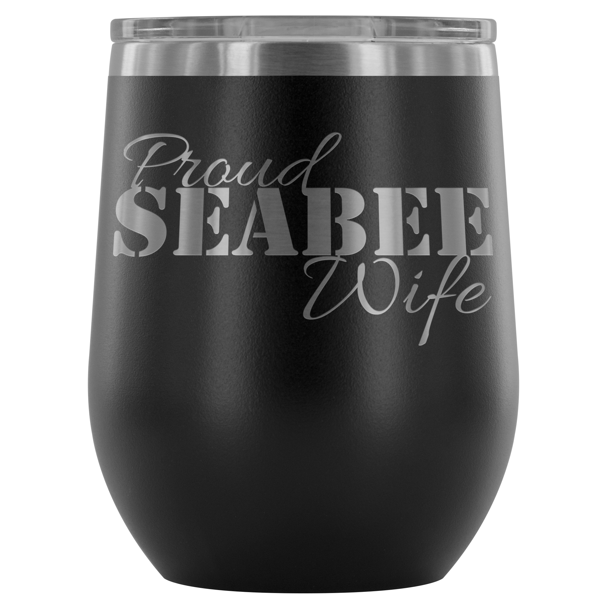 Proud Seabee Wife - Wine Tumbler