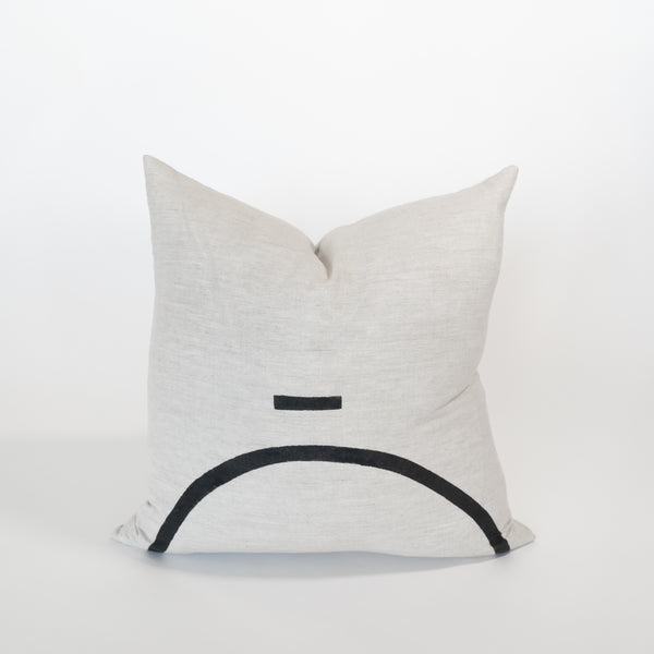 Line Dash Linen Block Print Pillow