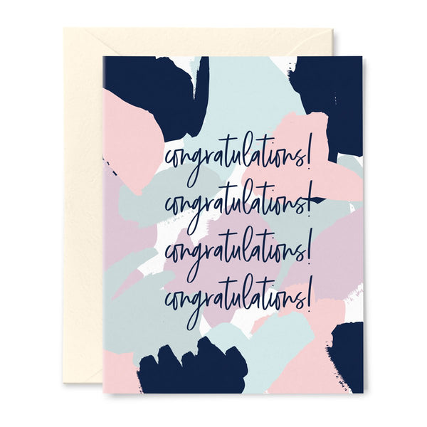 Brushstroke Pattern Congratulations Trendy Card