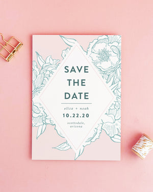 Romantic Peony Save the Date Card