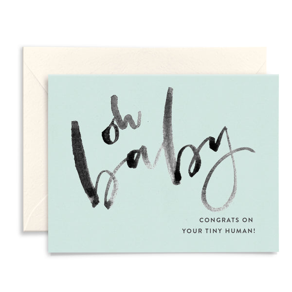 Oh Baby | Blue Watercolor Card
