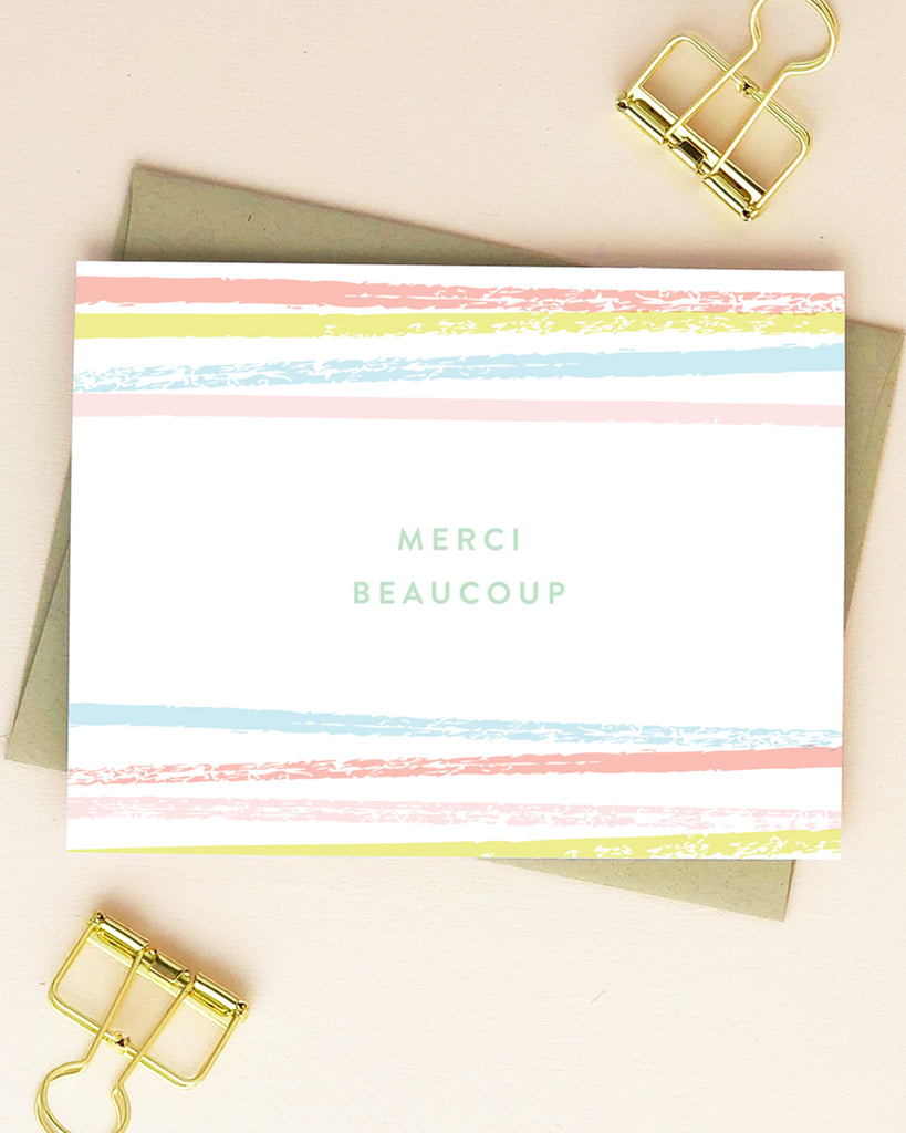Striped Merci Thank You Note Cards