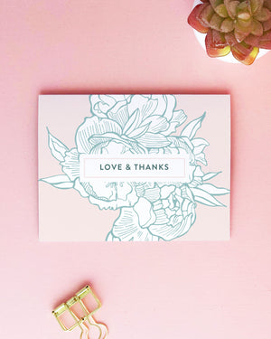 Romantic Peony Thank You Card