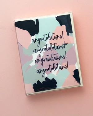 Boxed Set Brushstroke Pattern Congratulations Card