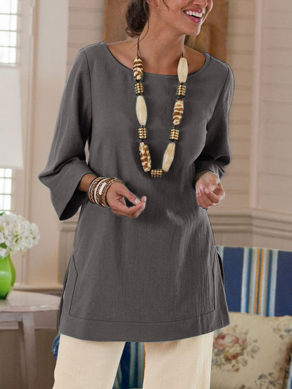 Plus Size Women 3/4 Sleeve V-neck Casual Blouse