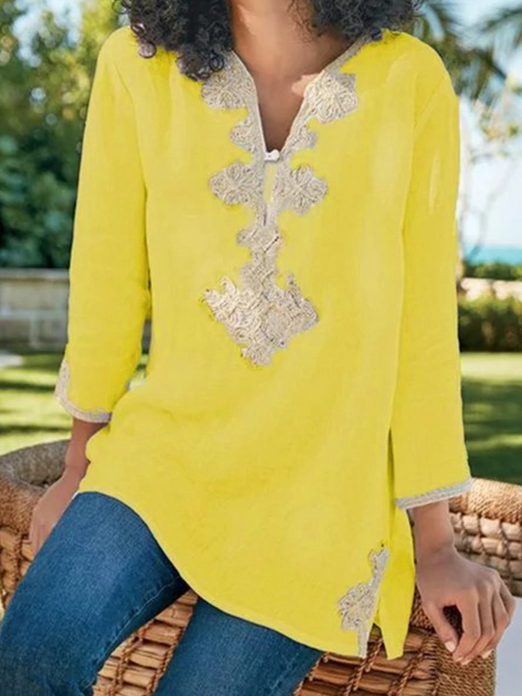 Casual V-neck Floral-print Long Sleeve Blouse