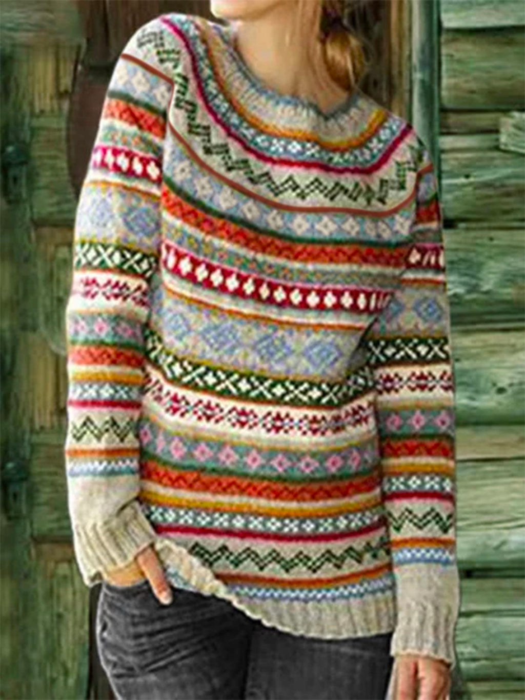 Long Sleeve Color-Block Sweater