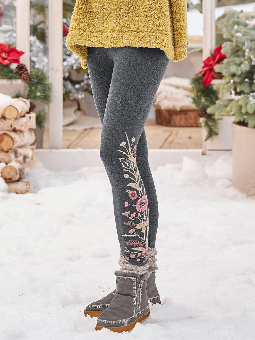 Casual Floral Warmth Leggings Pants