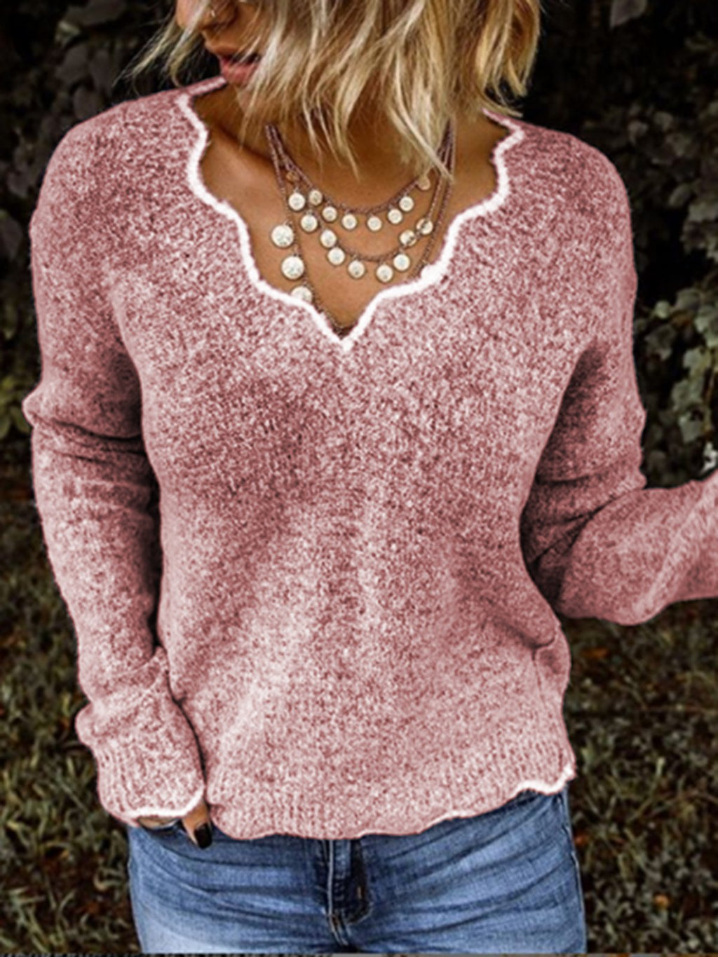 Long Sleeve Solid V Neck Knitted Sweaters
